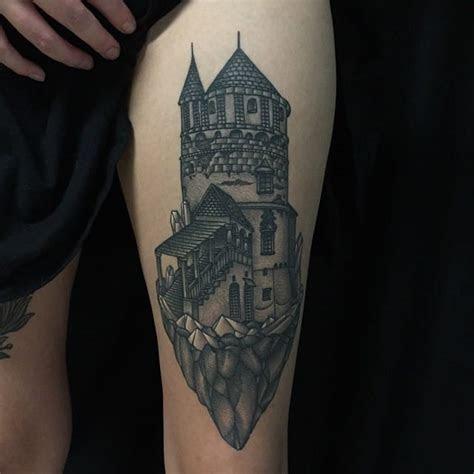 gorgeous fantasy castle tattoos tattoodo