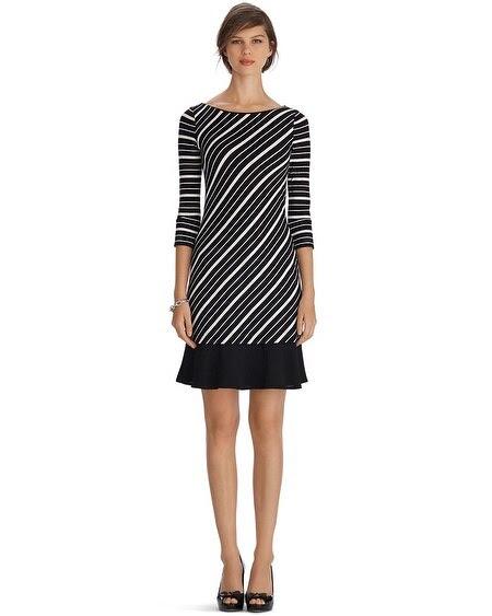 3/4 Sleeve Stripe Flounce Chemise Dress
