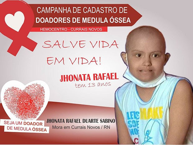 Família de Jhonatha Raphael Sabino, de 13 anos, procura doador de medula óssea (Foto: Divulgação)