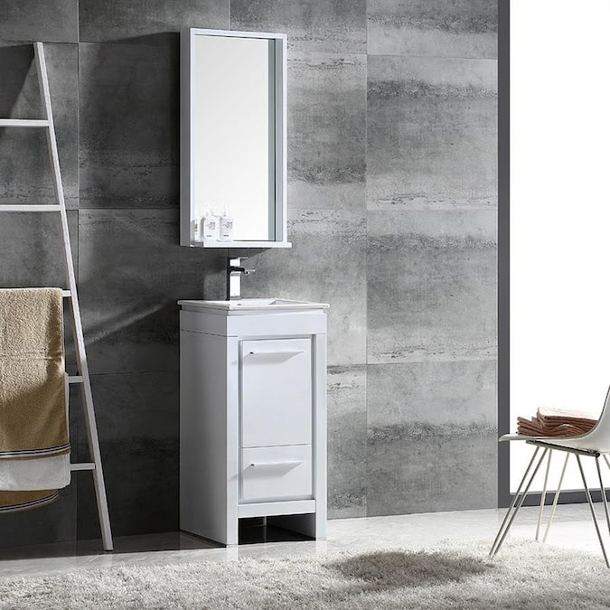 Fresca Trieste 16 In White Single Sink Bathroom Vanity With White Ceramic Top Mirror And Faucet Included In The Bathroom Vanities With Tops Department At Lowes Com