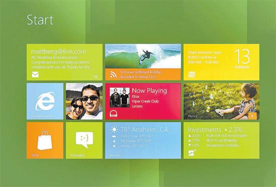Tela do Windows 8; nova versão do sistema troca ícones estáticos por mosaicos móveis