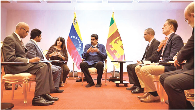 Foreign Affairs State Minister Vasantha Senanayake having discussions with Venezuela state officials.