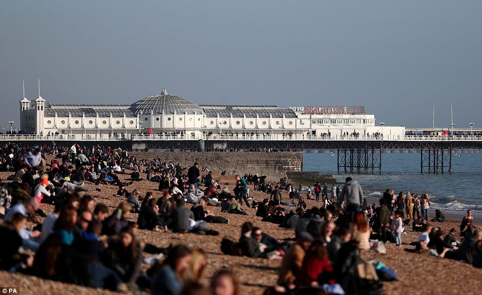 Life's a beach: Monday will be Britain's hottest February 20th for 160 years with temperatures set to reach 16C. Pictured: Brighton pier