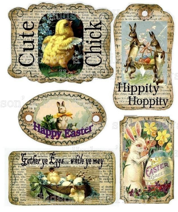 Easter Bunny Chick Tags - altered Fun scrapbooking Labels digital uprint primitive paper old