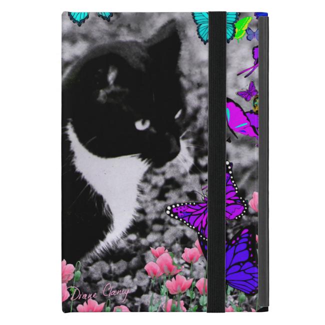 Freckles in Butterflies II - Tuxedo Cat iPad Mini Cover