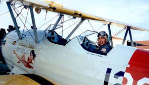 Carlos Bravo in the WWII Stearman biplane
