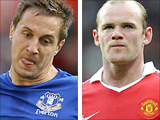 Everton centre-back Phil Jagielka (left) and Manchester United striker Wayne Rooney