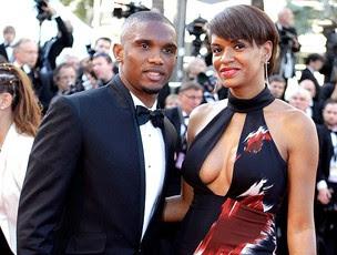 Eto´o com a esposa no festival de Cannes (Foto: AP)