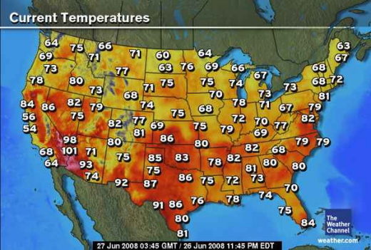Weather Map Of The Us With Temps Us Weather Map Temperatures Current