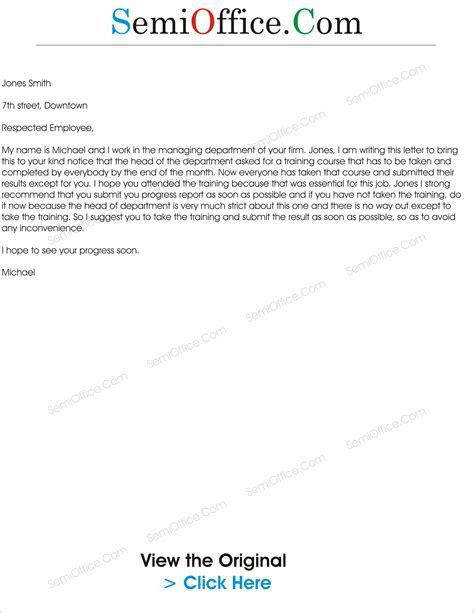Training Invitation Letter to Employees   SemiOffice.Com