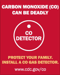 Graphic: Carbon Monoxide (CO) can be deadly. Protect your family. Install a CO gas detector.