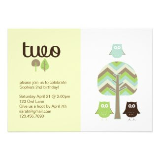 Owl 2nd Birthday Invitation