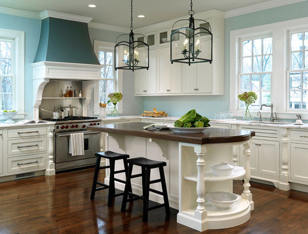 Gorgeous White Kitchen With Light Blue Walls Pictures ...