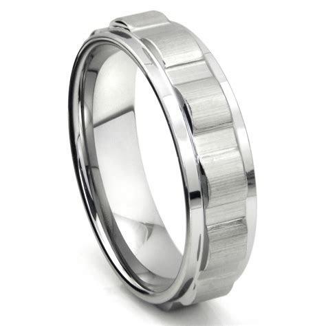 Tungsten Carbide 7MM Coin Edge Wedding Band Ring