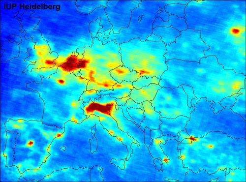 Air pollution in Europe mapped by satellite Calpa:Source.