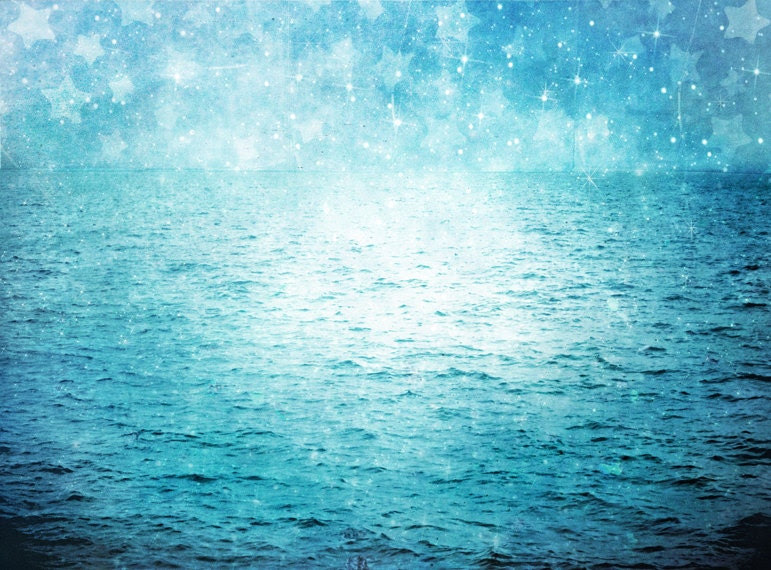 "Surreal Blue Ocean Photograph ""Under Paper Stars"" Starry Sky Photo - Dreamy Blue Sea Landscape - Nature Photography - missquitecontrary"