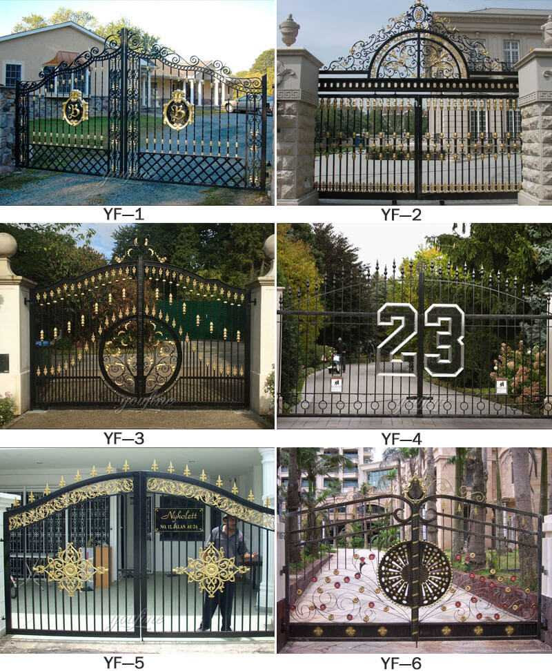Modern Metal Art Double Driveway Front Entry Wrought Iron ...