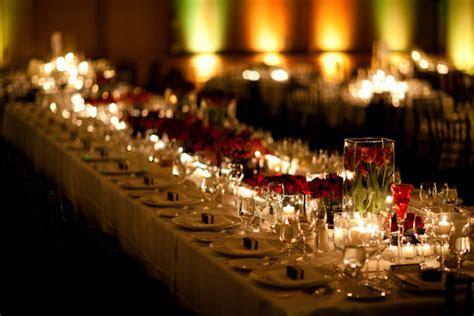 Romantic candle lit and rose wedding reception