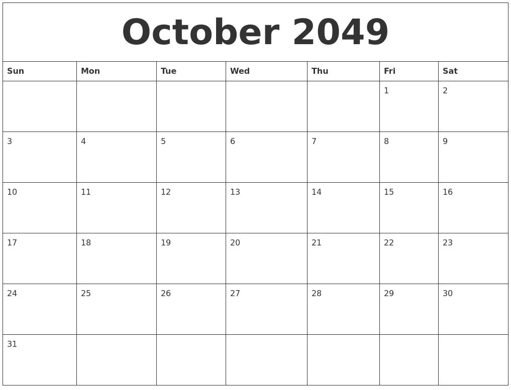 october 2049 free weekly calendar