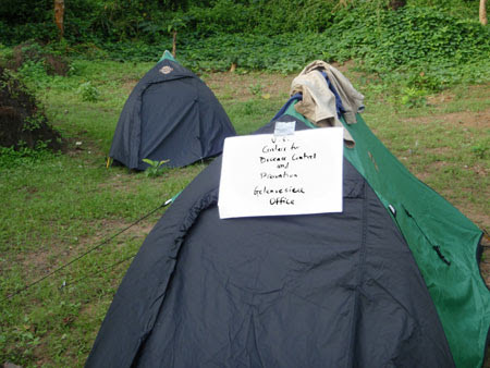 CDC RITE team members would camp in rural communities for several days during their outbreak investigation. This picture shows their office in the field.