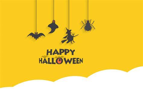 wallpaper happy halloween minimal yellow hd