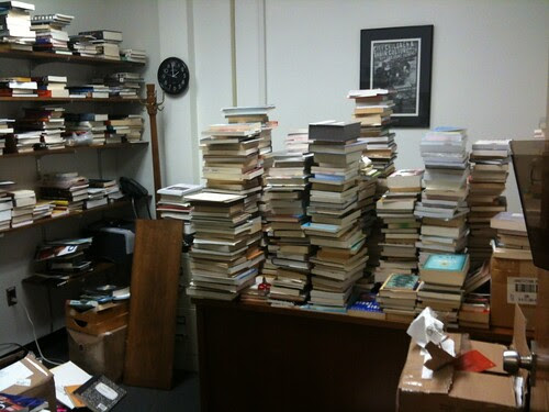 My office with all the books almost unpacked