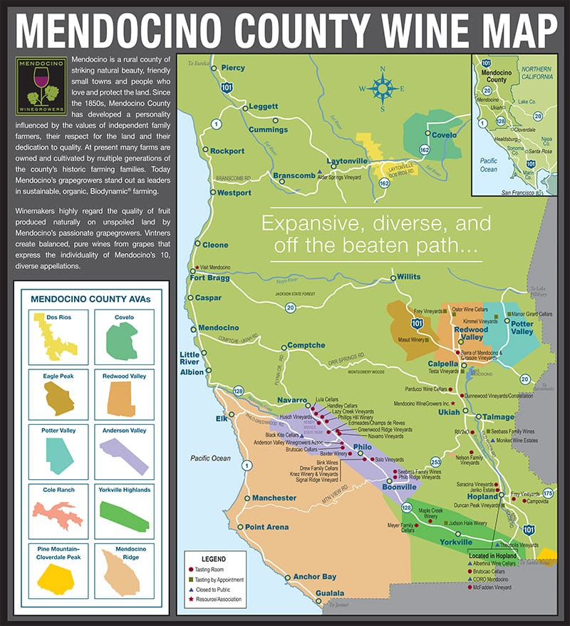 Mendocino County Appellations Map Norcalvineyards Com