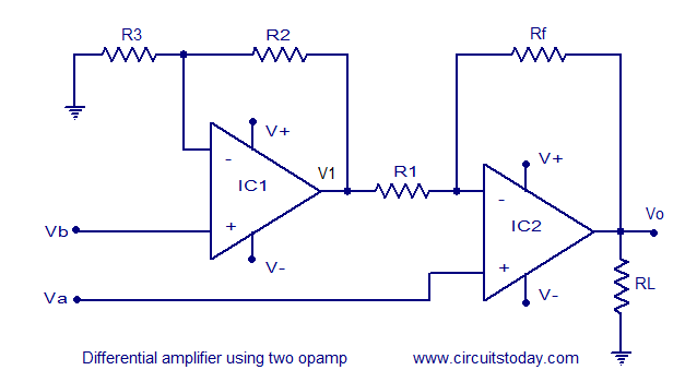 two opamp differential amplifier