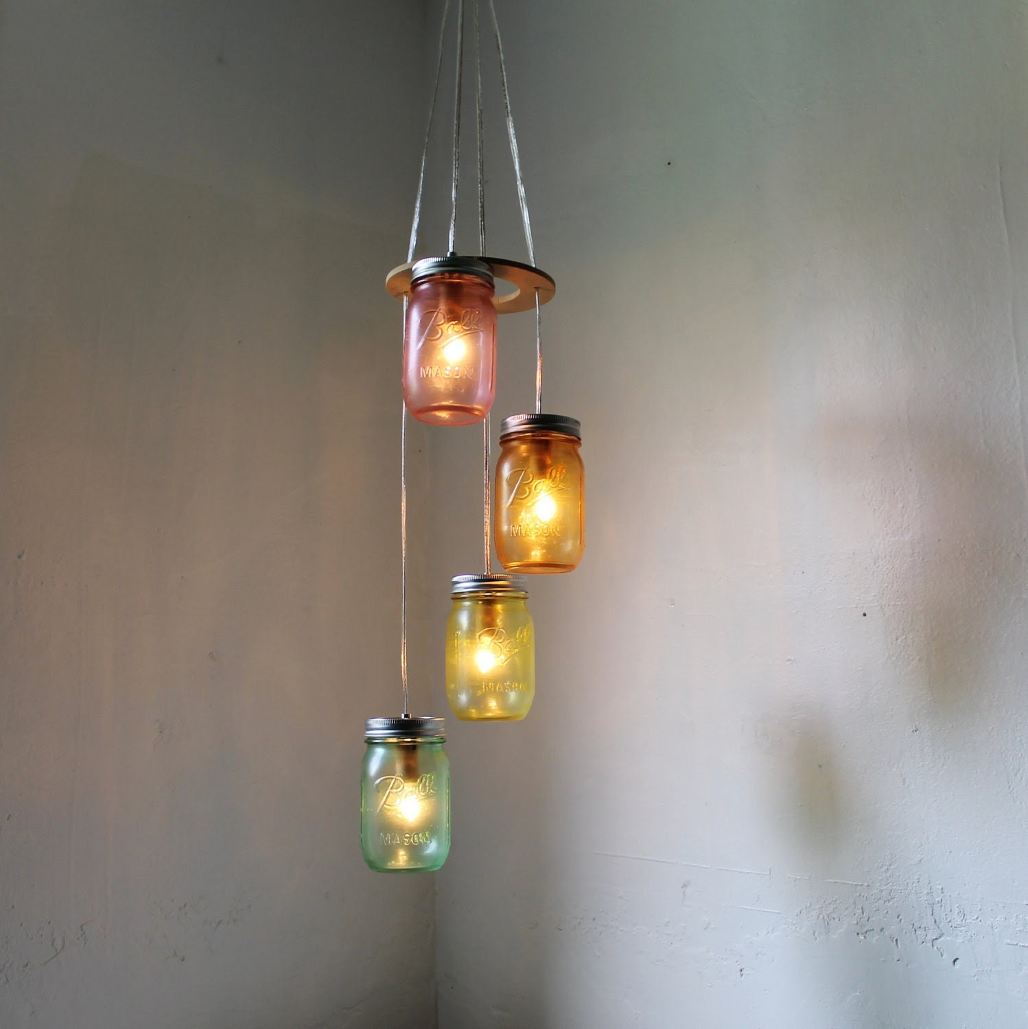 Over the Rainbow - Mason Jar Chandelier - Spiral Cascading Waterfall Hanging Mason Jar Lighting Fixture - Upcycled BootsNGus Lamp Design - BootsNGus