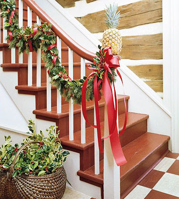 25 ways to decorate your stairs banisters this christmas - Banister Christmas Decorations