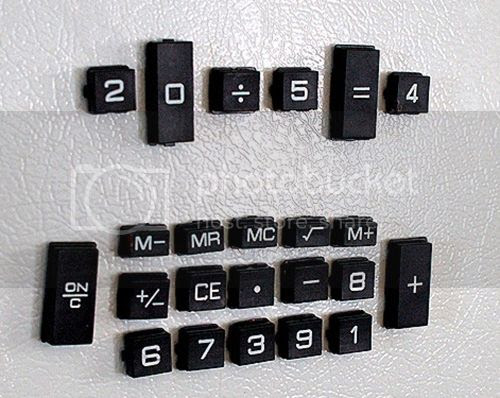 Calculator Keys into DIY Fridge Magnets