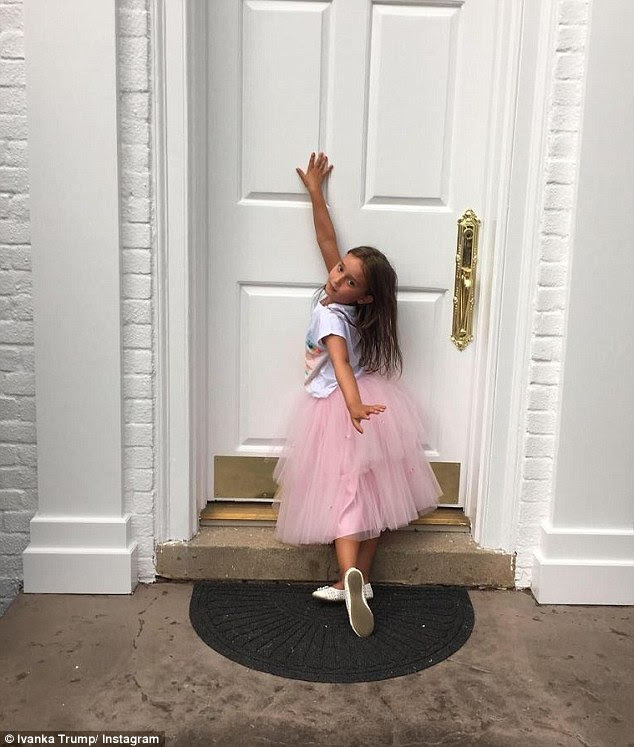 Tiny dancer: Ivanka snapped this image of her daughter Arabella, five, showing off a potential back-to-school outfit