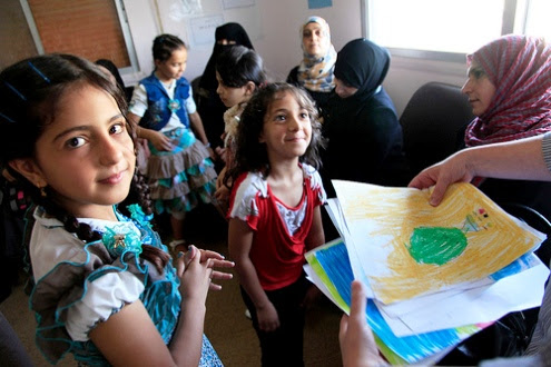 Syrian girls in Ramtha, Jordan