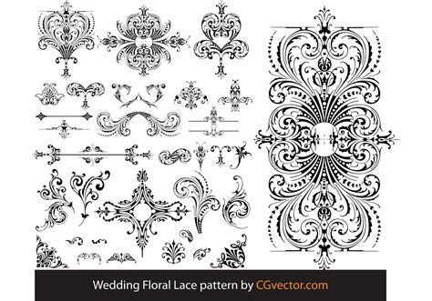 Wedding Floral Lace pattern vector   Download Free Vector