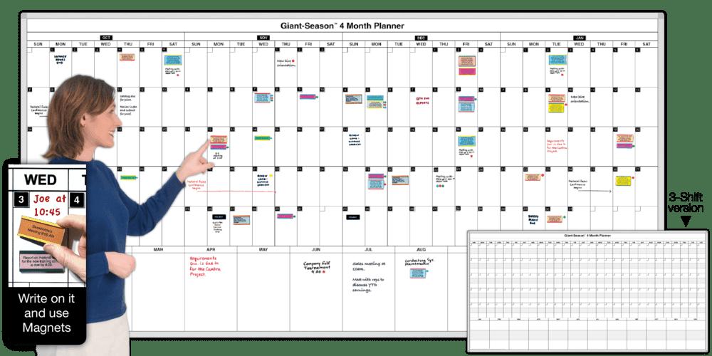 Giant-Season™ 4-Month Magnetic Planning Calendar