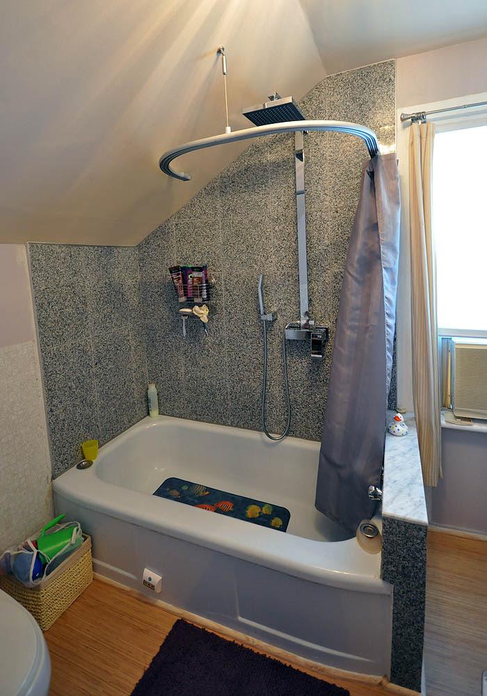 Kvartal Shower Curtain for Dormered Bathroom - IKEA Hackers