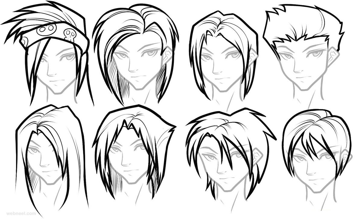 draw anime male hair 22 - Full Image