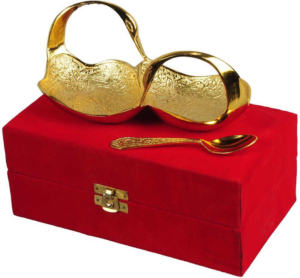 """Jaipur Ace Gifts Gold Plated Swan Shaped Bowl Set Of 2 Pieces"""