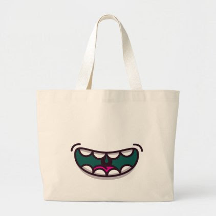 Funny Big Mouth Monster. Large Tote Bag