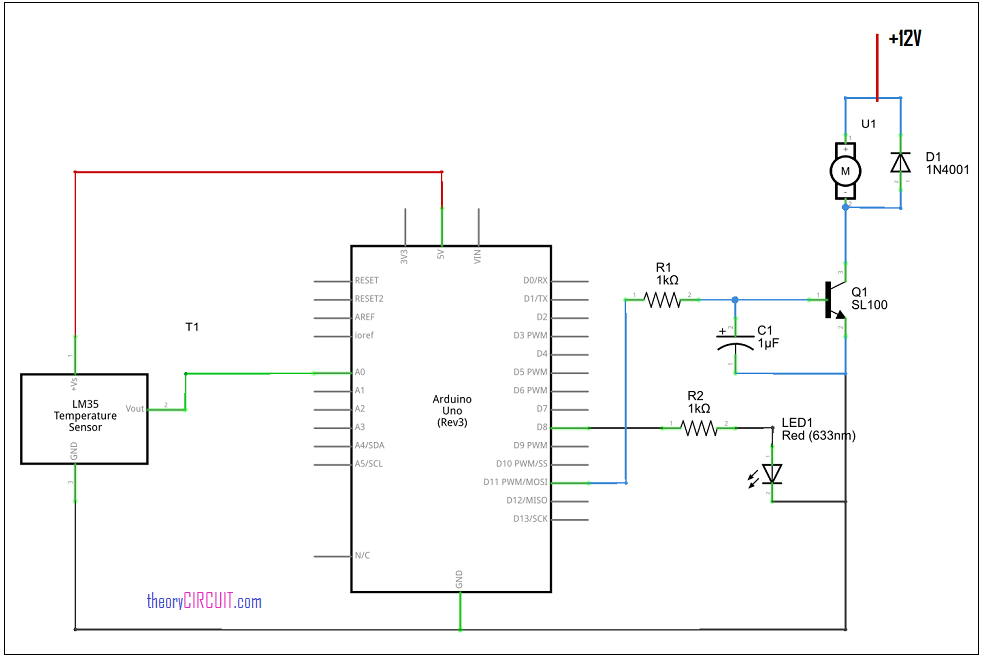 Temperature Controlled Ceiling Fan Circuit