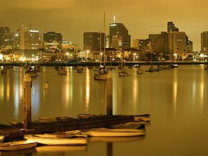 Sailboats in San Diego, California at 4 am