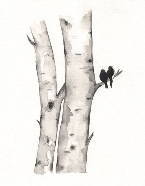 Birch Tree Love No. 1 / Love Birds / Romance / watercolor print / grey / black and white / Archival - kellybermudez