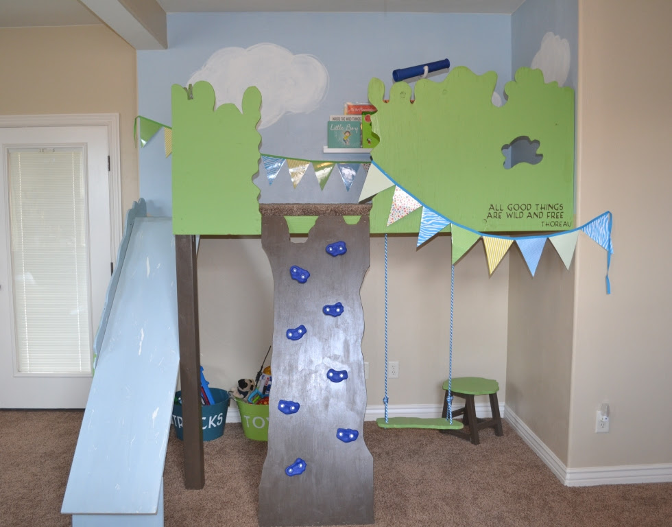 Remodelaholic   Build An Indoor Tree House With Slide and Rock ...