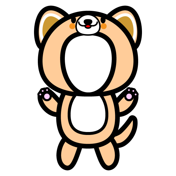 かわいい犬の着ぐるみの無料イラスト商用フリー オイデ43