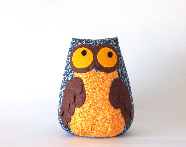 Medium owl toy in deep blue&orange - Machookahandmade
