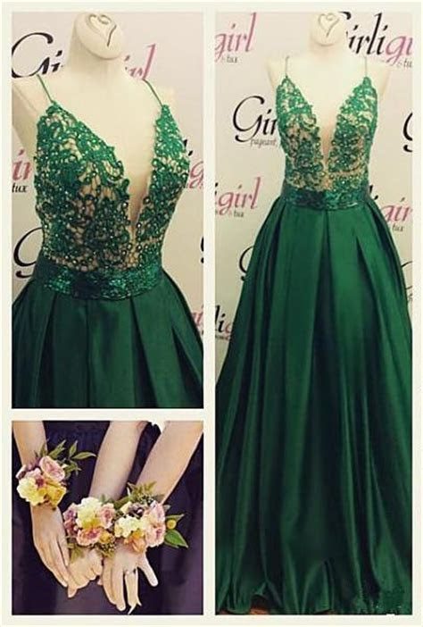 Dark Green Spaghetti Straps Prom Dresses Cheap A line