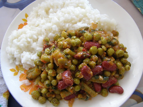 pilafi and curried mixed vegetables