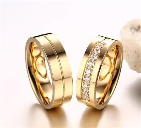 21 best Wedding Rings   Couple Gold Plated Ring by