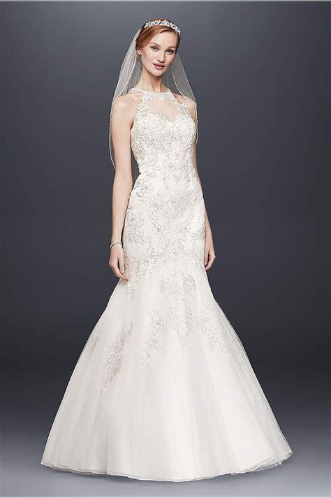 Jewel Lace Wedding Dress with Scalloped V Neck   Davids Bridal