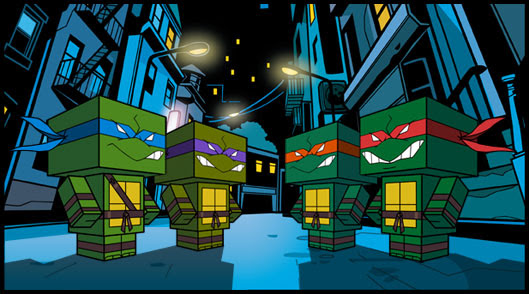 TMNT & 4 Kids Papercraft   !! .. (( i  always knew they were real buncha  BLOCKHEADS !!))